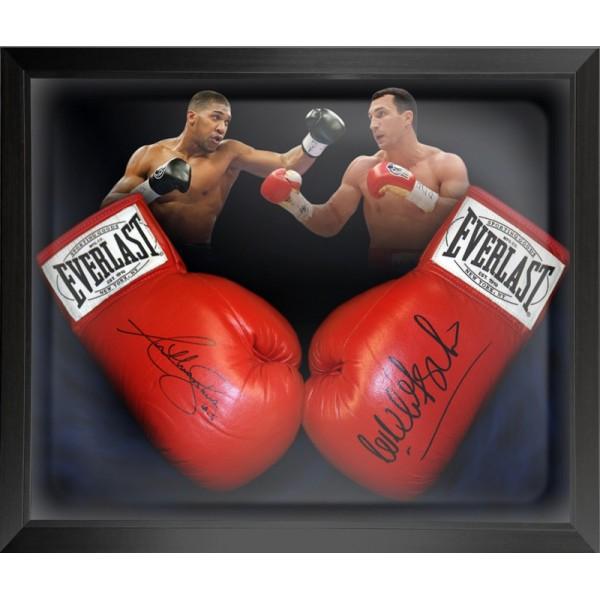 63d73807dc7 Anthony Joshua   Wladimir Klitschko Signed Boxing Gloves Framed ...