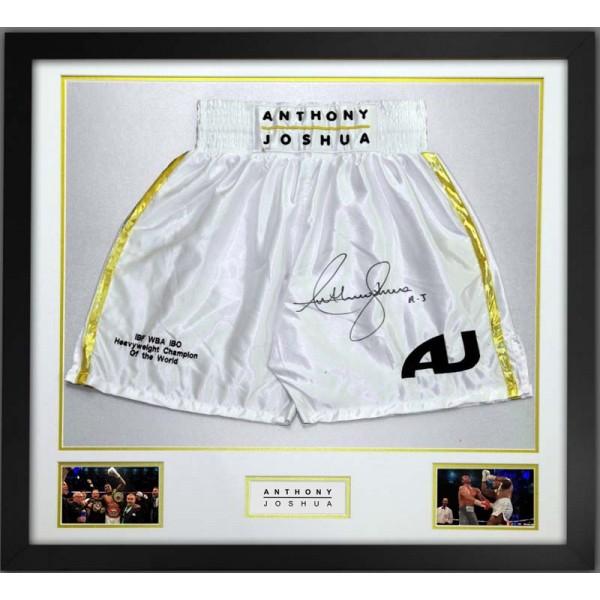Anthony Joshua Signed & Framed White Boxing Trunks