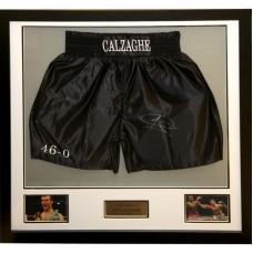 Joe Calzaghe Signed & Framed Boxing Trunks