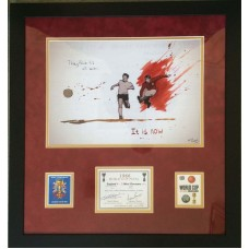 Geoff Hurst & Martin Peters Signed 1966 England World Cup Final 'Champagne Label' Montage