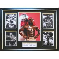 Marvin Hagler Signed & Framed Photo Montage B