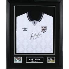 Gary Lineker Signed & Framed England Shirt