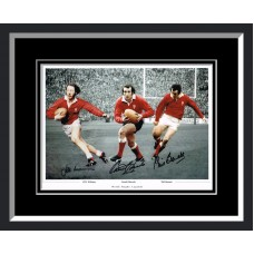 Gareth Edwards, JPR Williams & Phil Bennett Triple Signed Wales Framed Photo