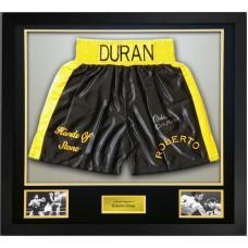 Roberto Duran Signed & Framed Boxing Trunks