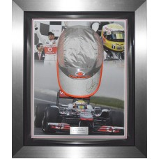 Lewis Hamilton Signed Cap Framed in a Dome