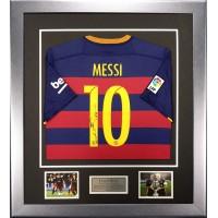 Lionel Messi Signed & Framed 2015-16 FC Barcelona  Shirt