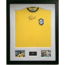 Pele Signed & Framed Brazil Shirt