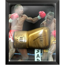 Sugar Ray Leonard Signed Gold Reyes Boxing Glove Framed in a Dome