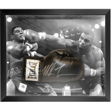 Mike Tyson Signed Everlast Black Boxing Glove Framed in a Dome