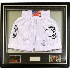 Mike Tyson & Evander Holyfield Signed & Framed Boxing Trunks